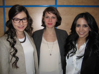 Noura Redding, Emily Parkinson and Safina Adatia, McGill's Department of Family Medicine students.
