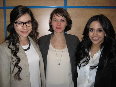 Noura Redding, Emily Parkinson and Safina Adatia, McGill's Department of Family Medicine students.